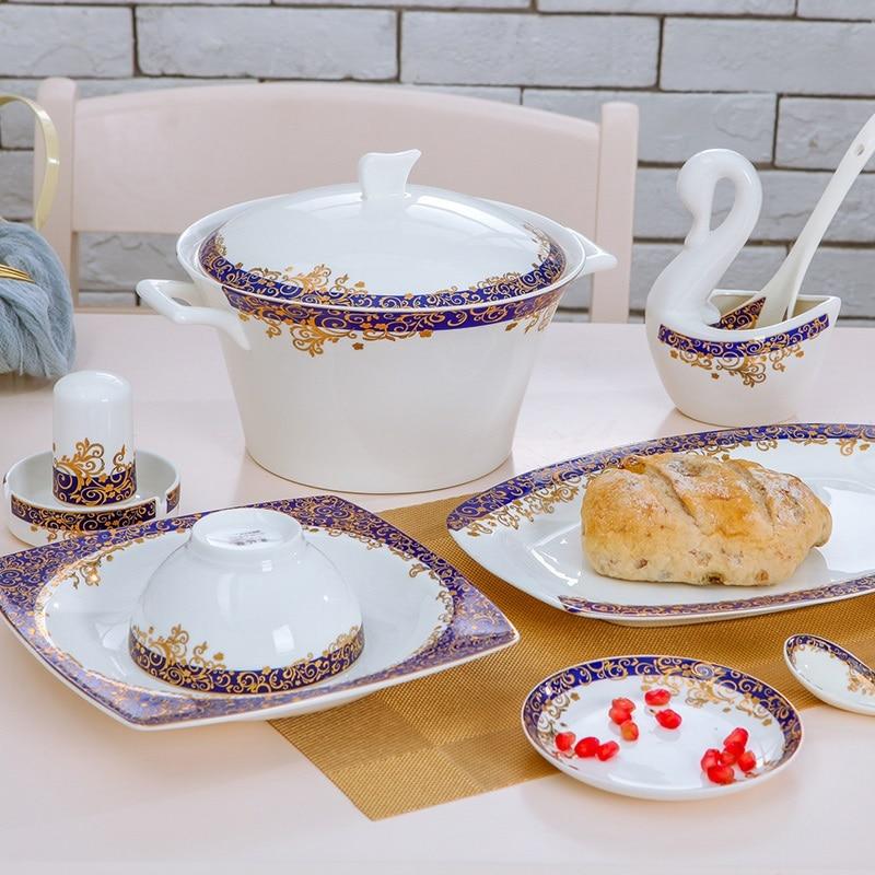 cutlery Jingdezhen dinnerware set 60 Pieces dinner set Bone Porcelain Tableware Set Korean Household Ceramic Plate Set