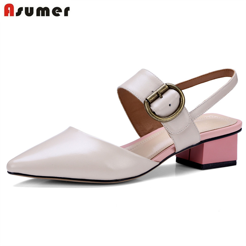 цена на ASUMER 2018 new fashion genuine leather shoes woman pointed toe square heel women sandals summer buckle dress wedding shoes