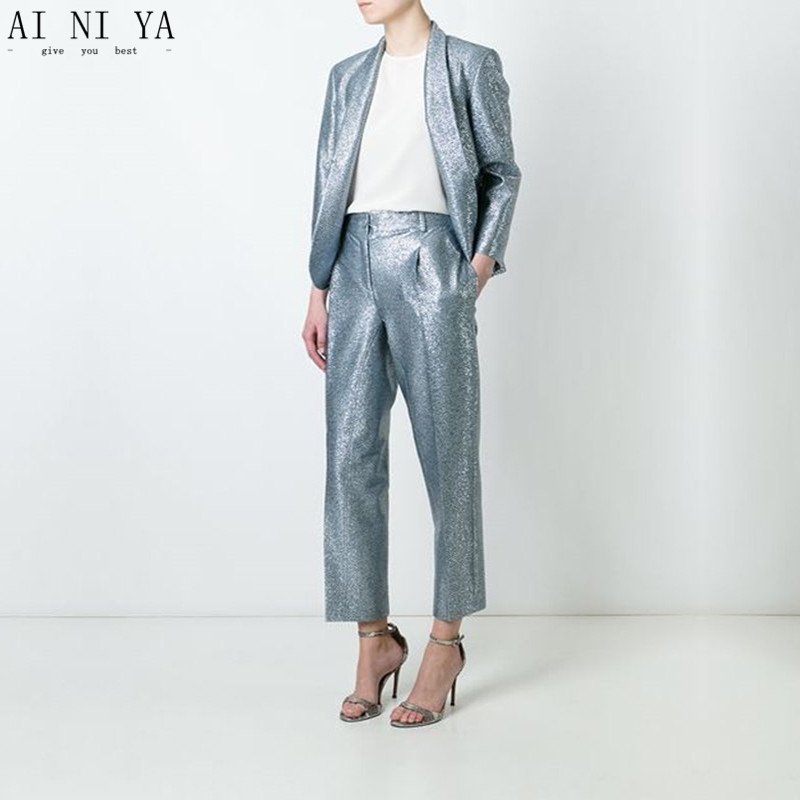 Jacket + Pants Lady Business Suit Single-breasted Office Uniform Sequins Womens Suits Custom Made Sequin female suit