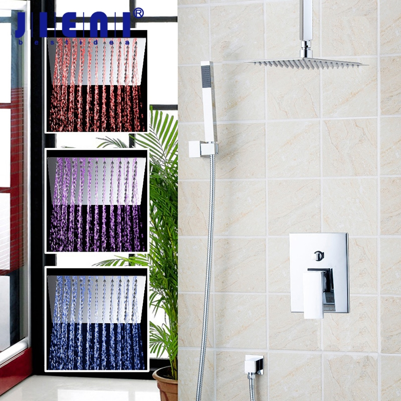LED Ceiling Mounted LED Bathroom Rain Chrome Shower Set With 8 Super Thin head Shower Set Faucets