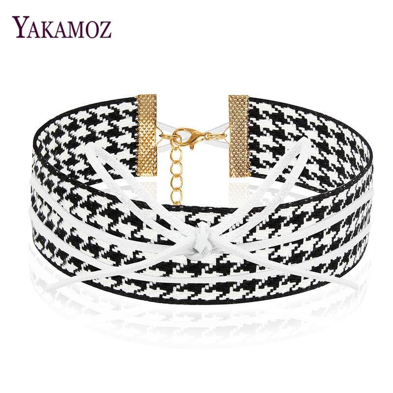 Knitted Women Necklace Black&White Chokers Personality Wide Cloth Womens Neck Chain Fashion Collar Necklace For Women
