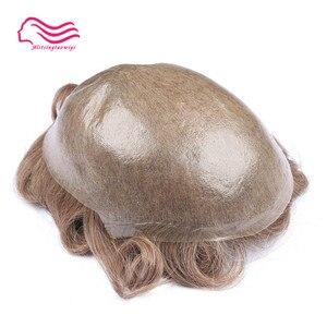 Image 1 - Tsingtaowigs, uomini toupee super sottile skin0.02 0.04mm Vlooped NG, capelli replacemnt, parti dei capelli, uomini parrucca di trasporto libero