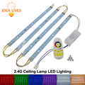 Ceiling Lamp LED Rigid Strip Light with 2.4G Remote Control Driver RGB + Warm White + White set.