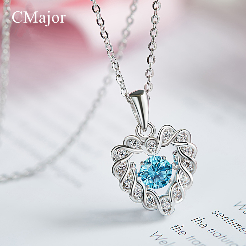 CMajor Delicate Dancing Stone Heart Pendant Necklace For Women Sterling Silver Jewelry Chokers Necklaces With Blue Zircon