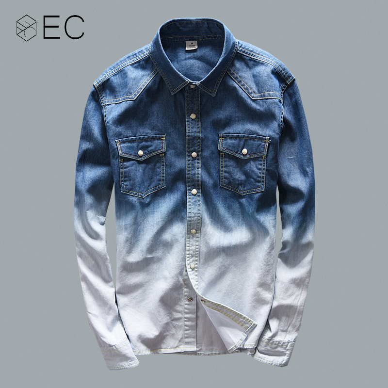EC2018 Gradient denim shirt Men 100% Cotton Male Long Sleeve Slim Shirts Casual Male Dress Shirts Brand Clothing T132