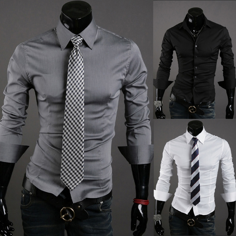 2018 Autumn Casual Men Shirt Long Sleeve Slim Black Shirt Solid Color Mens Dress Shirts Men Clothes 10 colors Camisa Masculina