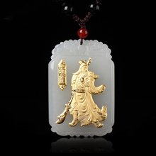 Drop Shipping Gold Jade GuanYu GuanGong Necklace Pendant Carving  For Men Lucky Pendants