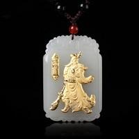 Drop Shipping Gold Jade GuanYu GuanGong Jade Necklace Pendant Carving Jade Pendant For Men Lucky Pendants