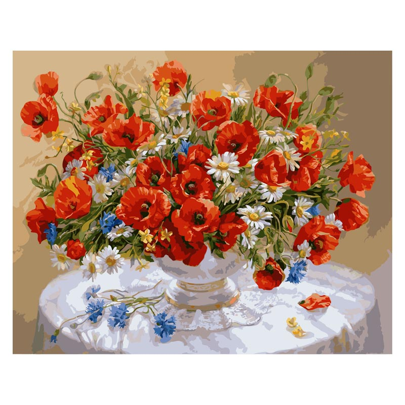 AZQSD On Canvas Oil-Painting Wall-Sticker Picture Flowers Number Szyh031 Craft Gift Digital
