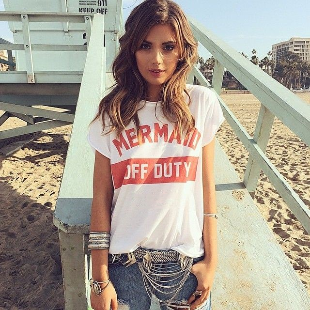 Mermaid off duty red letters print unisex t shirt fashion for T shirt dress outfit tumblr