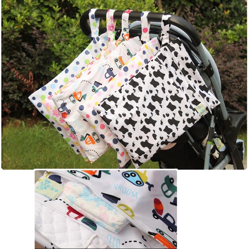 Zip Nappy Pouch Cloth Diaper Organizer Stroller Storage Bag Waterproof W
