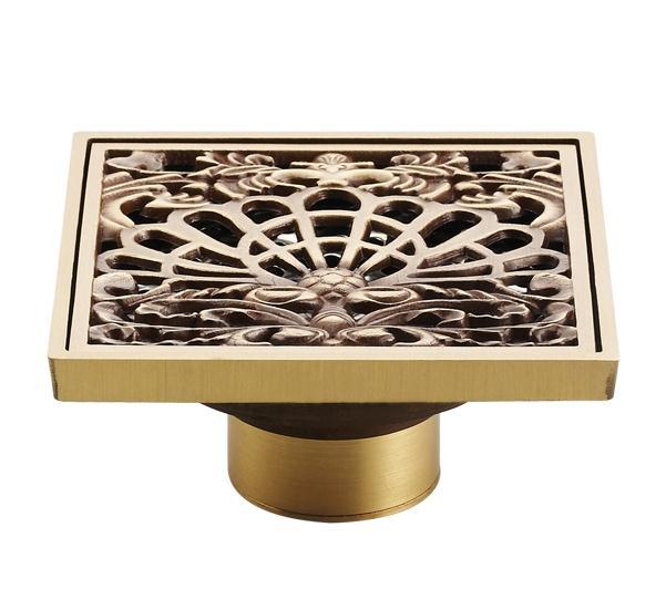 Antique Copper Anti-odor Square Peacock Shows Bathroom Accessories Sink Floor Shower Drain Cover Luxury Sewer Filter K-8851 antique copper odor proof floor drain square thickening stainless steel filter screen new classical design
