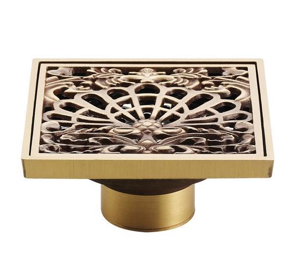Captivating Antique Copper Anti Odor Square Peacock Shows Bathroom Accessories Sink  Floor Shower Drain Cover Luxury