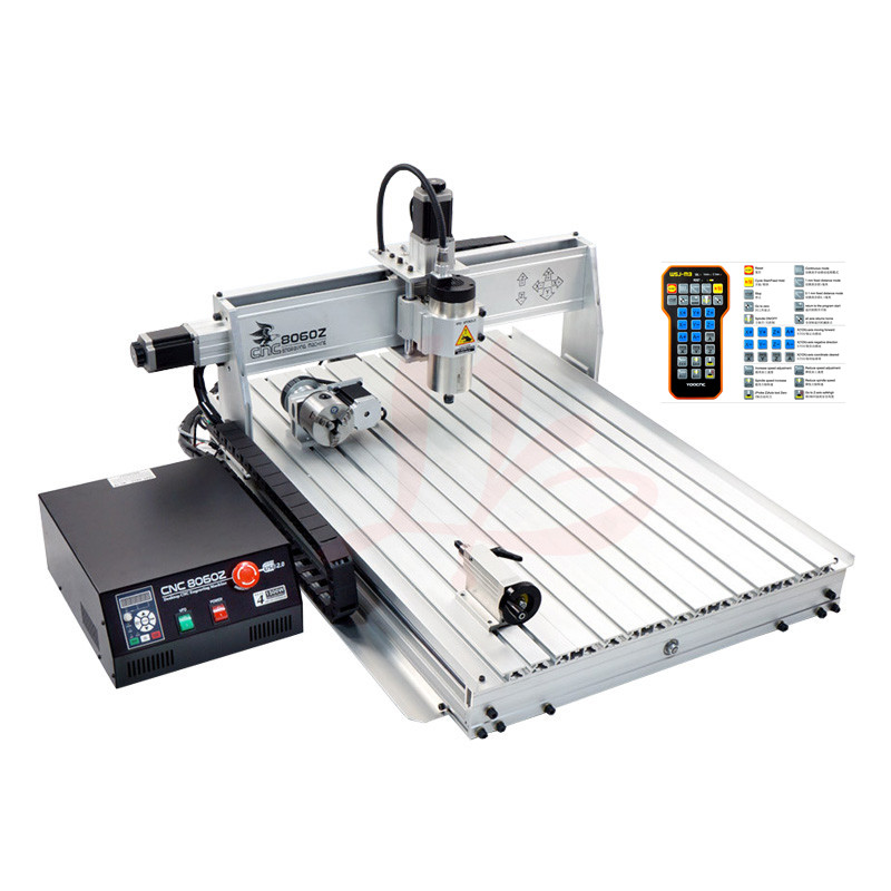 1500W wood router 4 axis CNC 8060 PCB milling machine cnc engraver with cutter bit