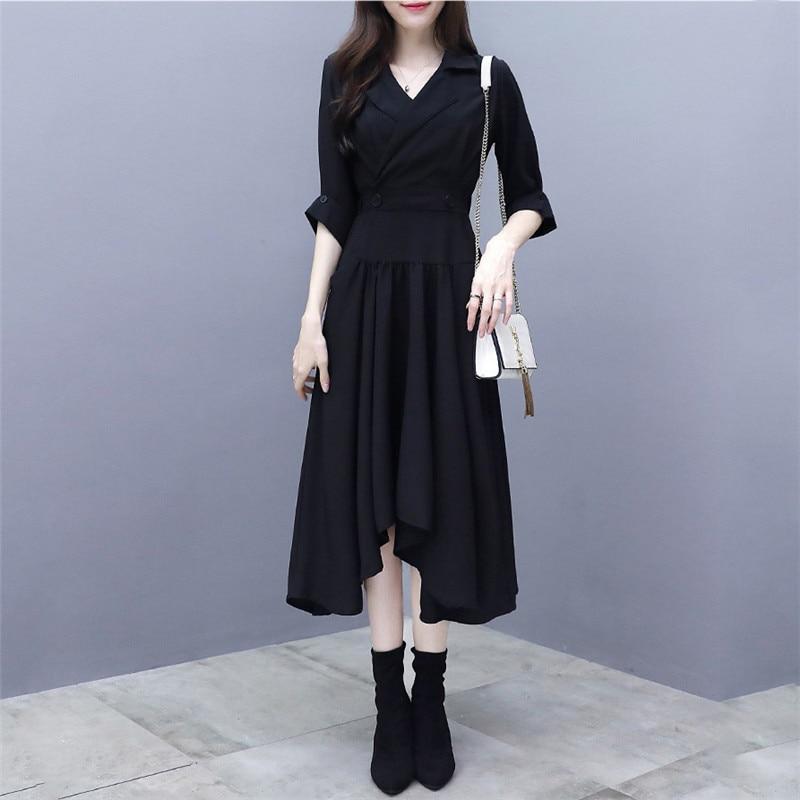 Платье Для женщин Весна 2019 новый костюм воротник темперамент Пятиточечные рукавом платье карман на поясе черный шик платье Feminina LD1003