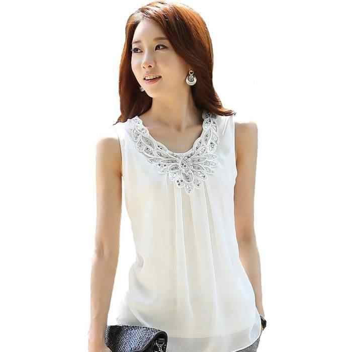 8f36bd9cce9 Женская мода Блузки летние топы бисером жилет без рукавов белая шифоновая  блузка Рубашки женские большие размеры