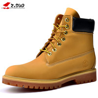 2016 New Genuine Leather Boots Men Winter Boots Fashion Men Boots Brand New High Quality Yellow