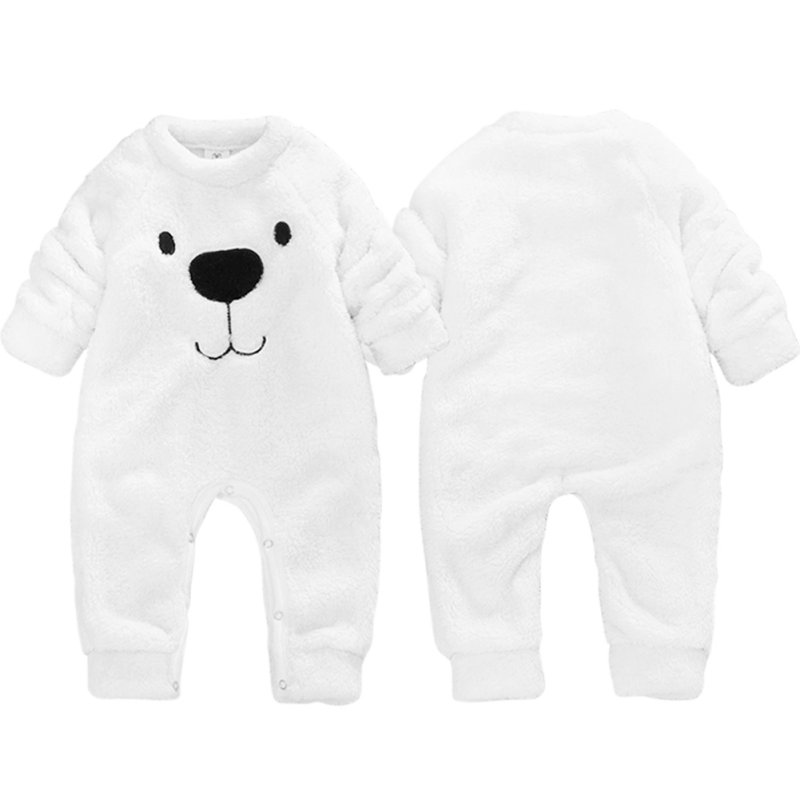 New Winter Children's Baby Clothing Boys Girls Lovely Bear Funny White   Romper   Thick Wool Suits Comfortable