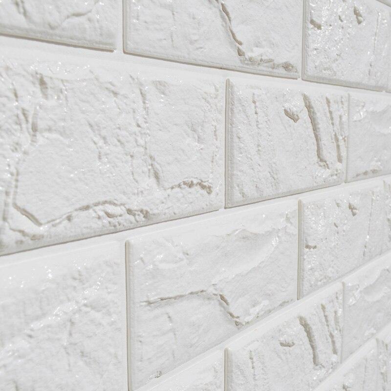1 PC Blanc En Relief 3D Mur De Briques Autocollant Panneau