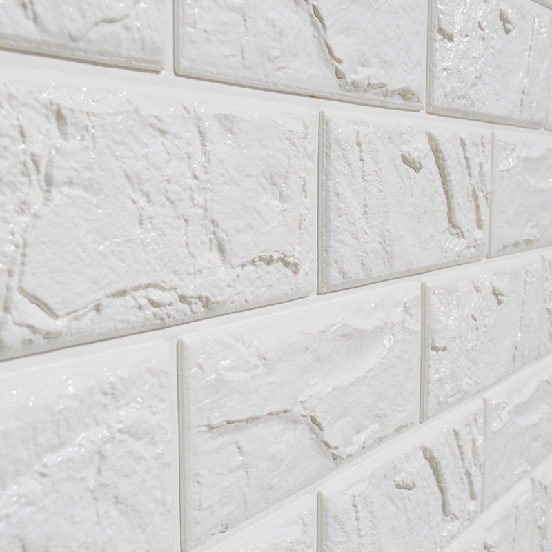 1pc White Embossed 3d Brick Wall Sticker Panel Soft