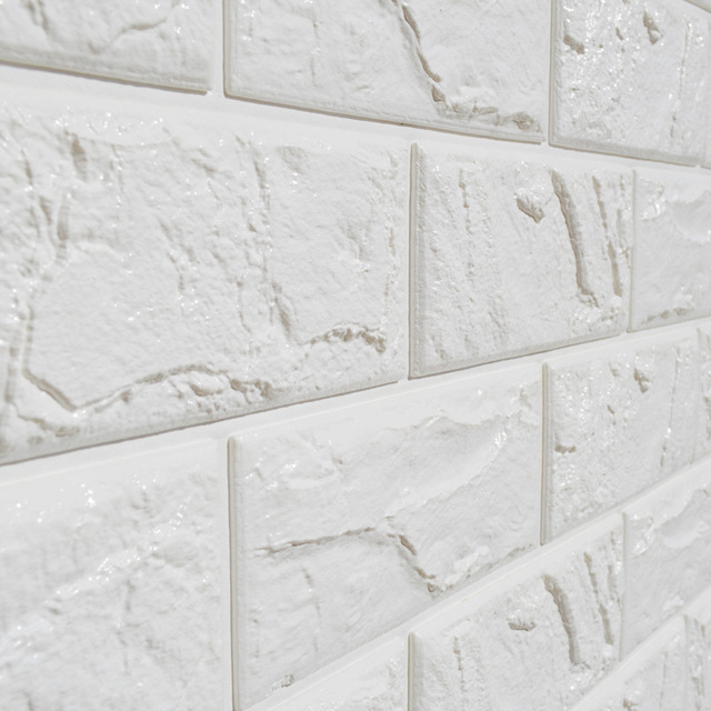 1pc White Embossed Brick Wall Sticker Panel Soft Thicken Foam Diy Texture Wallpaper Living Room Wallcovering 60 60cm