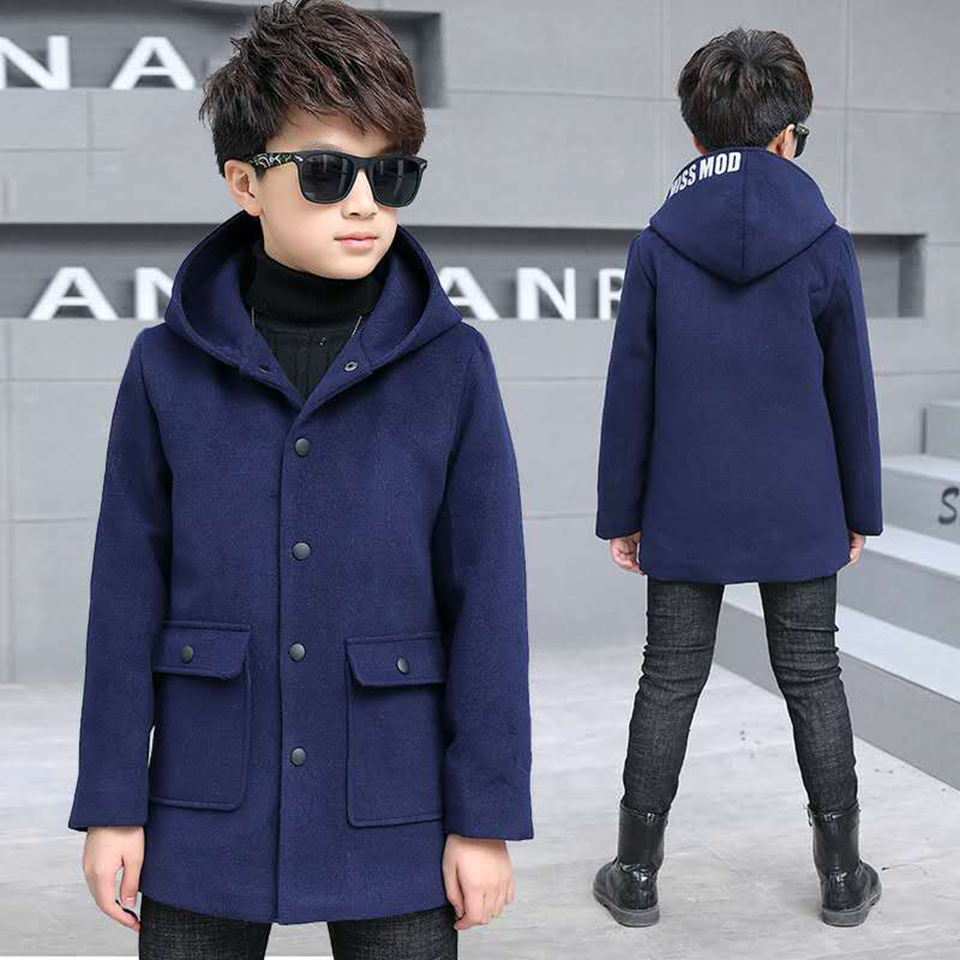 Solid Color Baby Boys Autumn Winter Warm Outerwear Thicken Hooded Woolen Jacket Coat For 4 6 8 9 10 12 13 Yrs Baby Boy Clothes wool coat for boys woolen outerwear boys winter jacket children clothing warm boy blazer thicken kids clothes b051