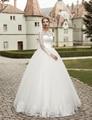 2017 Elegante Manga Comprida Do Vestido de Casamento vestido de Baile Lace Applique vestido de Casamento Nupcial Barato Projeto Do Jardim Frete Grátis