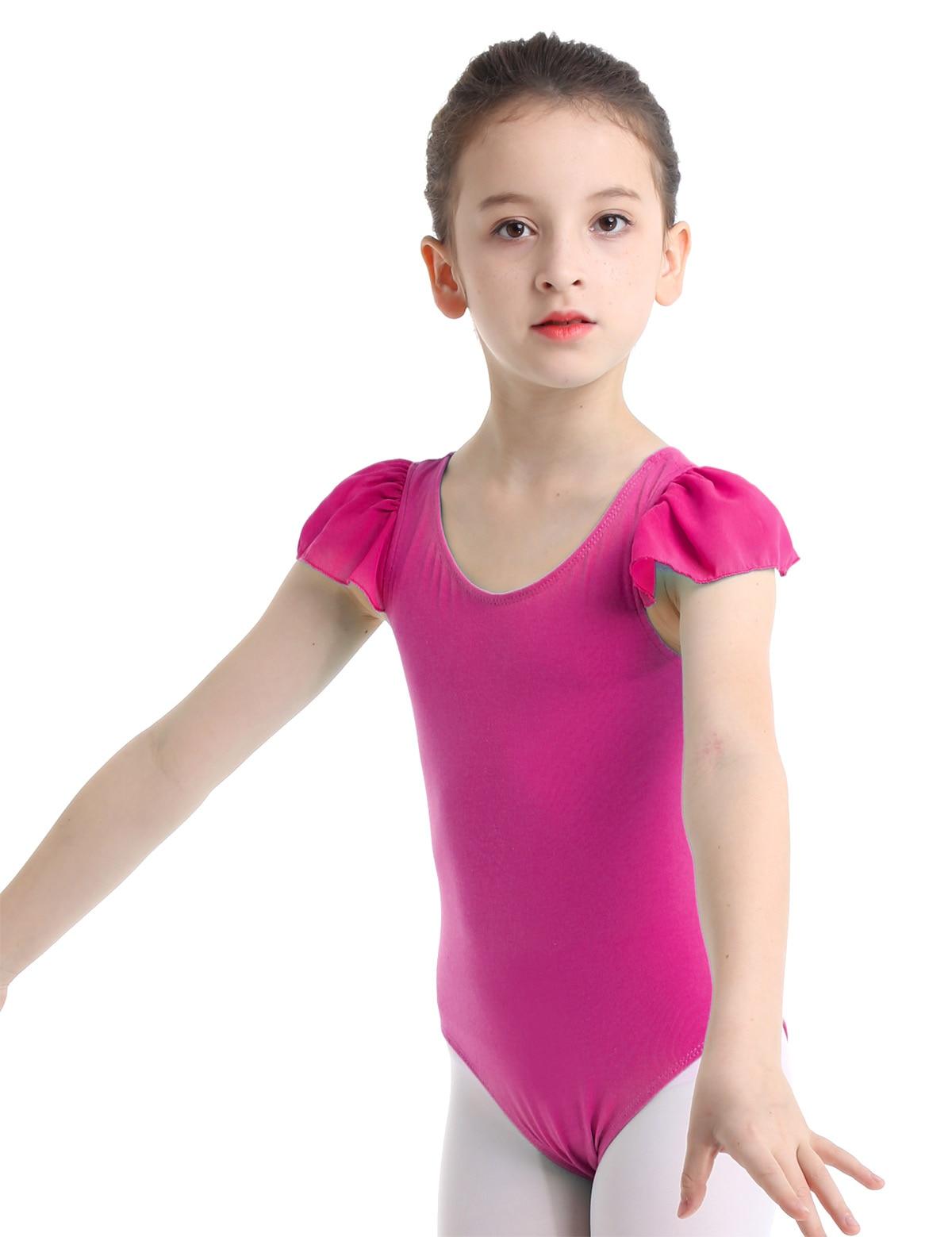 Toddler Girls Ruffles Sleeve Ballet Leotards Dancewear Gymnastics Dance Costume