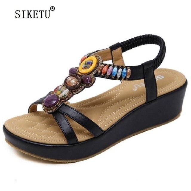 b5e00c9b5 SIKETU Wedges Sandals For Woman Summer Fashion Casual Wedge Heels Bohemia  String Bead Flip flop Beach Sandals Size 35-42