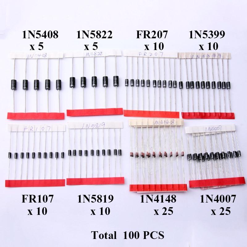 Glyduino 140PCS/Lot Commonly Used 1N4007 1N4148 1N5819 1N5408 FR107 FR207 1N5399 SR360 Diode Assorted Kit for Arduino DIY