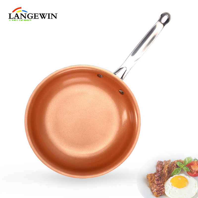 Thick Copper Non-stick Ceramic Coating Frying Pan Induction Cookware Grill Oven Suitable Griddle 10 Inches Skillet For Pancake
