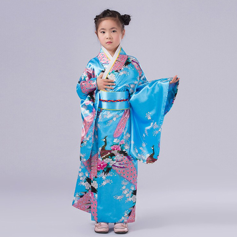 Novelty Blue Floral Child Party Dress Japanese Baby Girl Kimono Children Vintage Yukata Kid Girl Cospaly Costume NK028