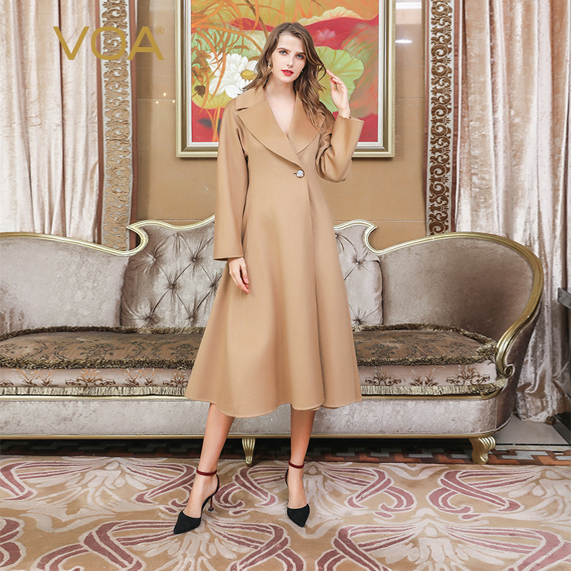 6657cbd4a134 VOA Cashmere Camel Coat Luxury Sheep Wool Grey Overcoat Off White Outerwear  Black Long Coats Four-color Warm Winter Surcoat S319