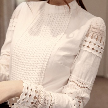 2019 Lace Chiffon Blouse Women Shirt Plus Size Casual ladies long sleeve Womens Tops and Blouses S-5XL Hook Flower Hollow 3