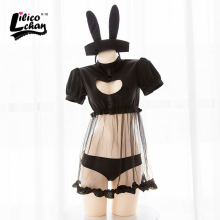 цены Cute Japanese Heart hollow out Underwear Sexy Costumes Perspective dress With Rabbit Ear Bunny Costume Sexy Lingerie Black&White