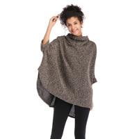 Ladies Winter Textured Knit Crochet Ethnic Turtleneck Poncho Loose Cape Coat for Women Yarn Knitwear Sweater Cardigan Pullover