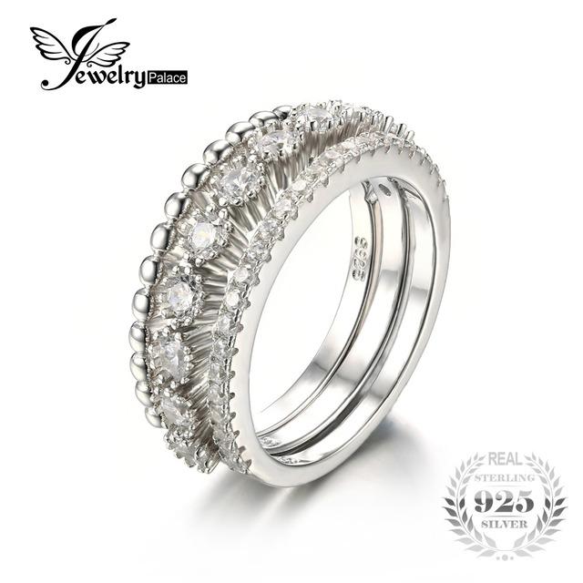 Jewelrypalace 925 sterling silver cubic zirconia 3 anel de banda empilhável set declaração de jóias finas para mulheres