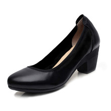 Plus Size 34-43 Women Pumps Basic High Heels Working Shoes Women Slip on Shallow Footwear Genuine Leather High Quality Shoes New