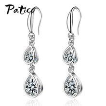 цена на Fashion Statement 925 Sterling Silver Cubic Zircon Ear Rings Big Geometric Earrings For Women Hanging Dangle Piercing Earrings