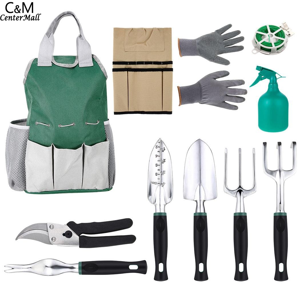 10Pcs Garden Tool Sets-a Plant Rope,Soft Gloves,6 Ergonomic Gardening Tools and a Garden Tote for Gardening Tool Kit Tool gardening tools potted flowers flower cultivation gadget spades and hoes for gardening vegetables
