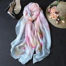 2018 nový čínský styl květinový vzor tisk 100% šátky dámské dlouhé šály hedvábné plátno opalovací krém