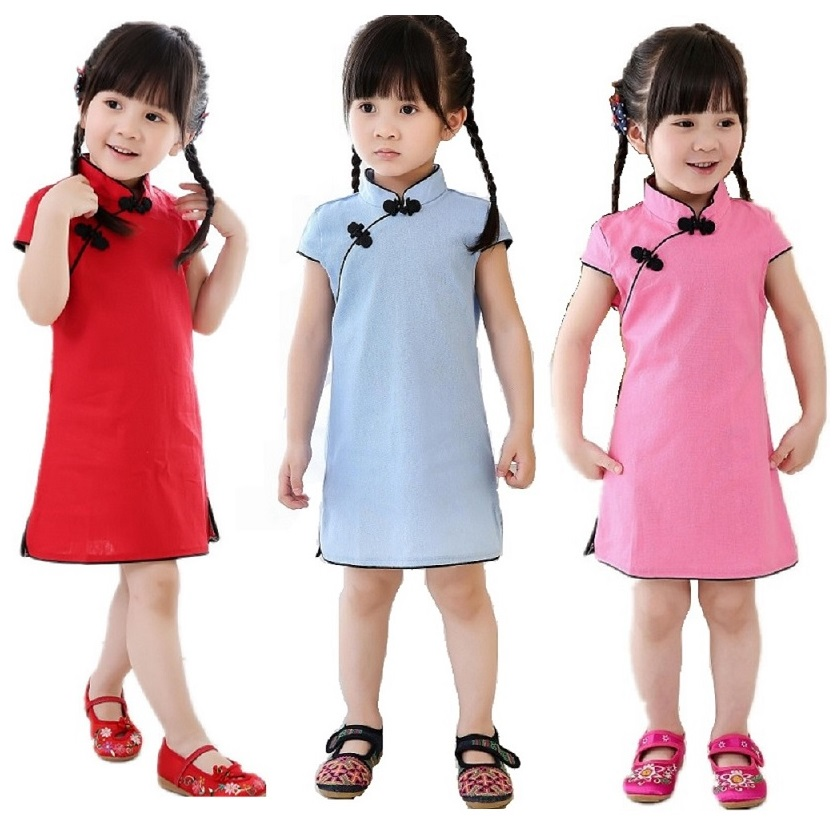 2018 Girl Dress Cotton Short Sleeve Children Qipao Chinese Traditional New Year Gift Baby Girls Clothes 2 4 6 8 10 12 14 16 Year girl