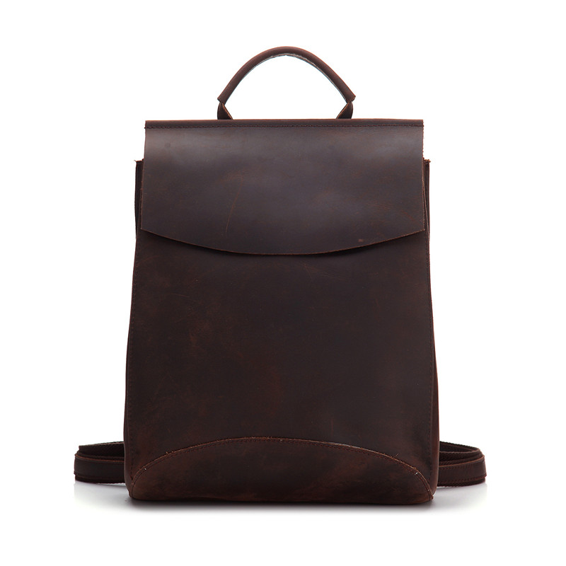 Vintage Genuine Leather Man Backpack Crazy Horse Leather Handmade Brown Bag Boys Schoolbag Leisure Unisex Women Backpacks #M8904