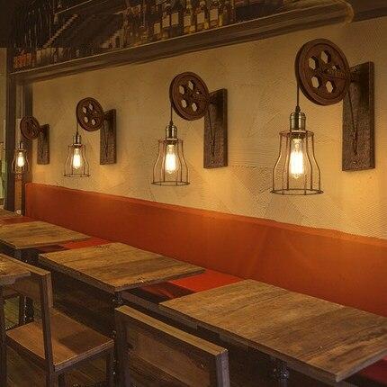 Style Loft Fer Poulie Vintage Mur Luminaires éolien Industriel
