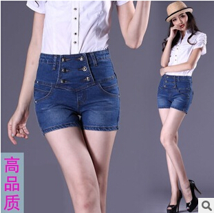 2015 new women's summer plus size denim cowboy hot shorts woman high waist slim hip big yards jeans shorts S-4XL free shipping