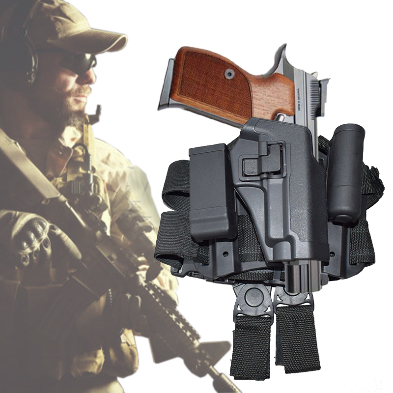 Tactical Quick Drop Right Hand Leg Holster For SIG SAUER P226 P228 P229 Pistol Hunting Airsoft Gun Thigh Holster tactical 1911 leg holster right hand paddle drop thigh pistol gun holster with snap button magazine torch pouch for colt 1911