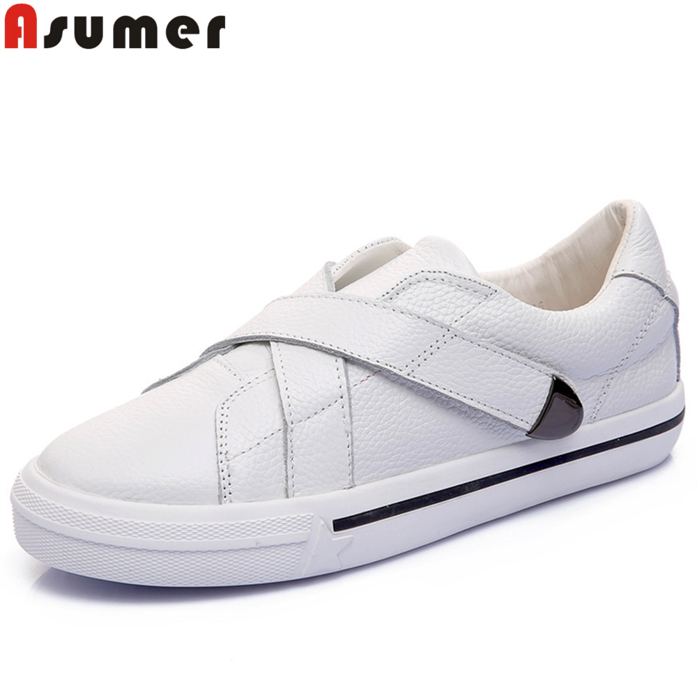 ASUMER black white fashion spring autumn new arrival flat shoes woman round toe genuine leather shoes women flats asumer white spring autumn women shoes round toe ladies genuine leather flats shoes casual sneakers single shoes