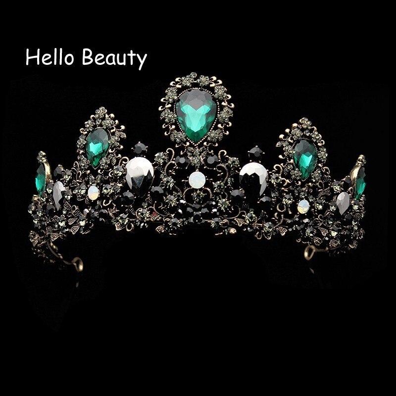 Big Baroque Vintage Black Rhinestone Prom Bride Crown Green Crystal Tiara Bridal Head Jewelry Pageant Wedding Hair Accessories