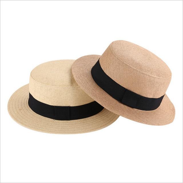 Unisex British Retro Flat Brim Straw Hat Summer Fashion Fedora Panama Hat  Beach Sun Hat Straw Hats for women men free shipping e0ae5794df5