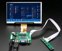 1024*600 IPS Screen Display LCD TFT Monitor with Remote Driver Control Board 2AV HDMI VGA for Lattepanda,Raspberry Pi Banana Pi
